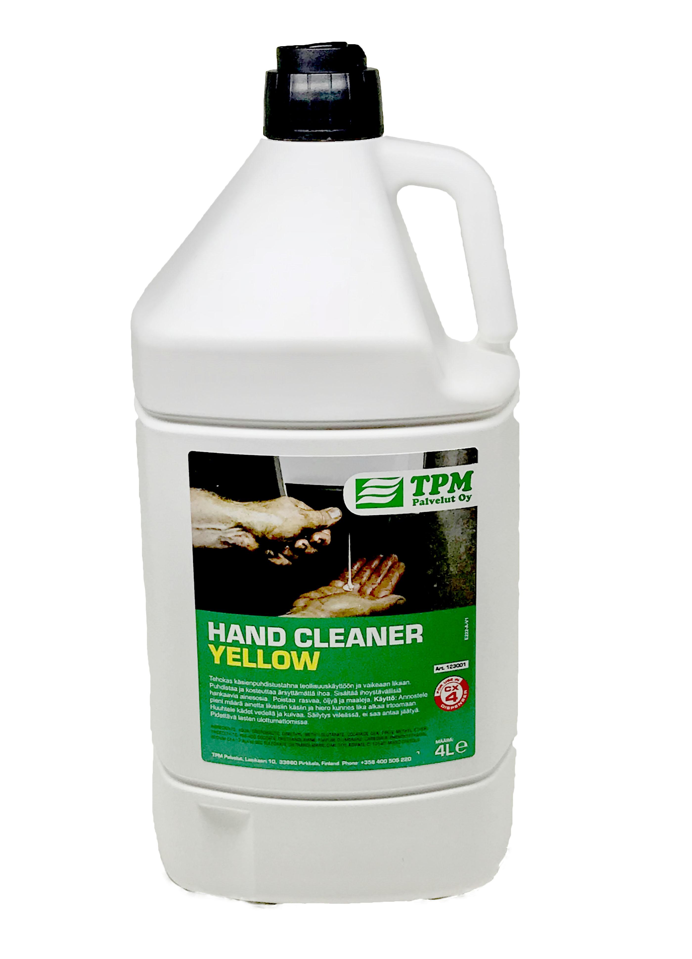 Käsien puhdistusaine, sisältää luonnollisia hankaimia, keltainen